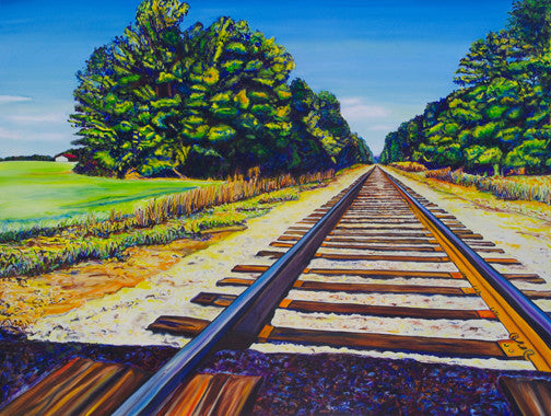 """Train Tracks"" {ORIGINAL OIL PAINTING}"
