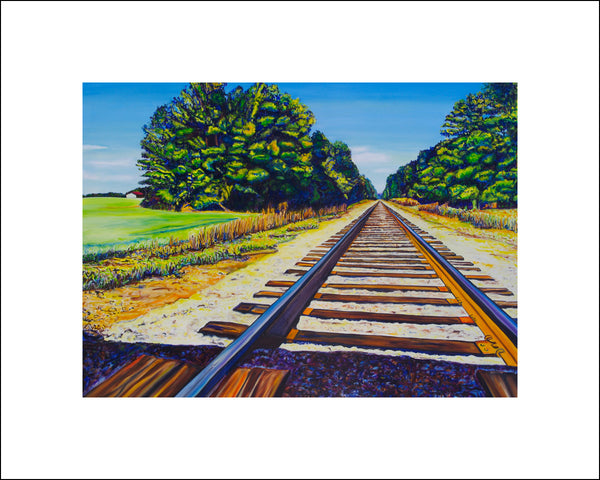 """Train Tracks"" Large Paper Art Print"