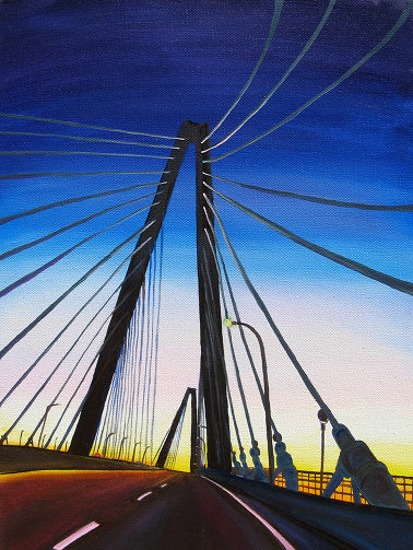 """Cooper River Bridge"" Medium Matted Print"