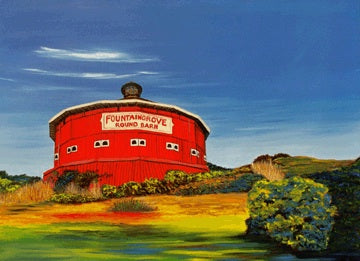 """Round Barn"" Medium Matted Print"