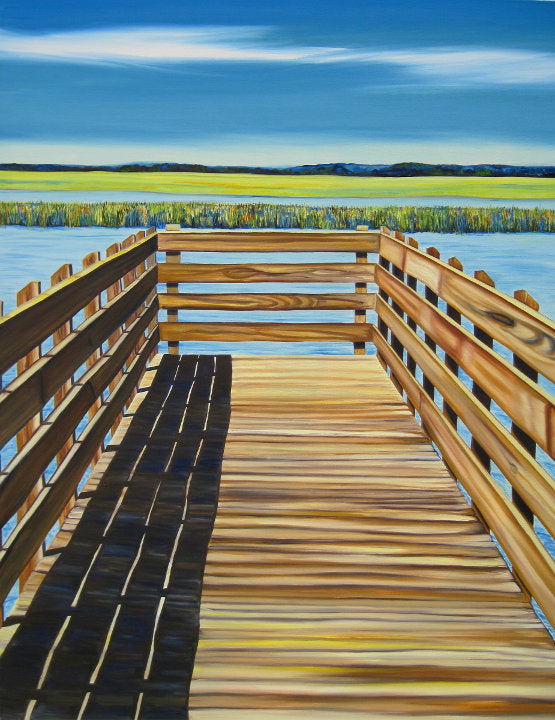 """Salt Marsh Dock"" {LANDSCAPE OIL PAINTING}"