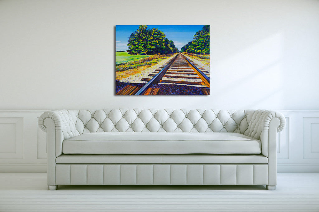 """Train Tracks"" {LANDSCAPE OIL PAINTING}"