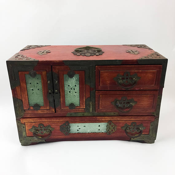 Vintage Oriental Chinese Wood Wooden Jewelry Box Brass And ...