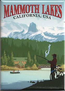 Mammoth Lakes Retro Fisherman Magnet
