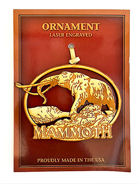 Wood Woolly Mammoth Ornament Mammoth Lakes