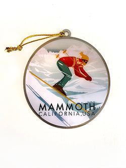 Mammoth Lakes Retro Skier Ornament