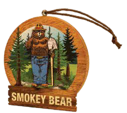 Smokey Round Wooden Ornament