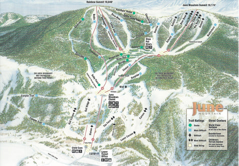 June Mountain Ski Trails Postcard-QTY=50