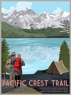 Pacific Coast Trail Retro Poster