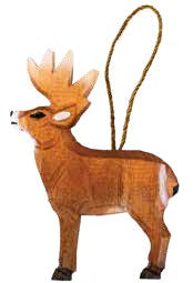 Carved Wood Deer Ornament with Regional Name Drop