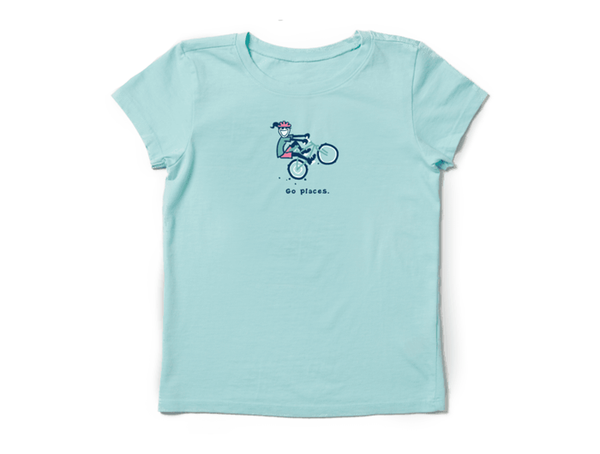 Life is Good Girl's Vintage Crusher Tee - Go Places Jackie