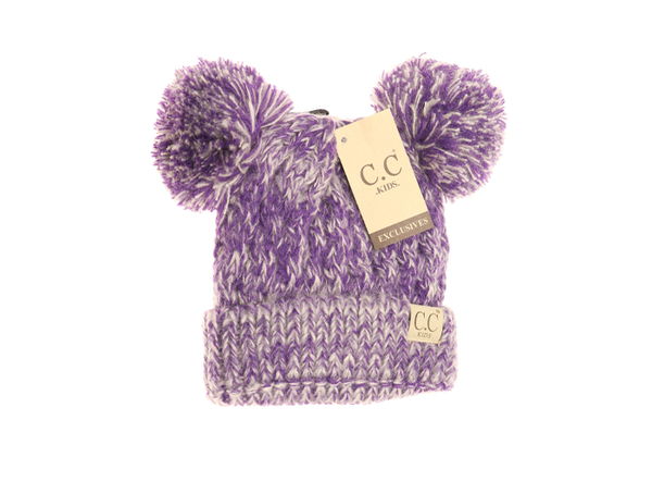 C.C Kids' Multi Tone Double Pom Beanie