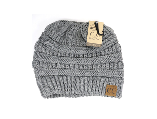 C.C Women's Solid Classic Beanie Tail