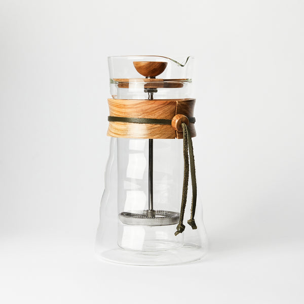Olive Wood Double Wall Glass Coffee and Tea Press