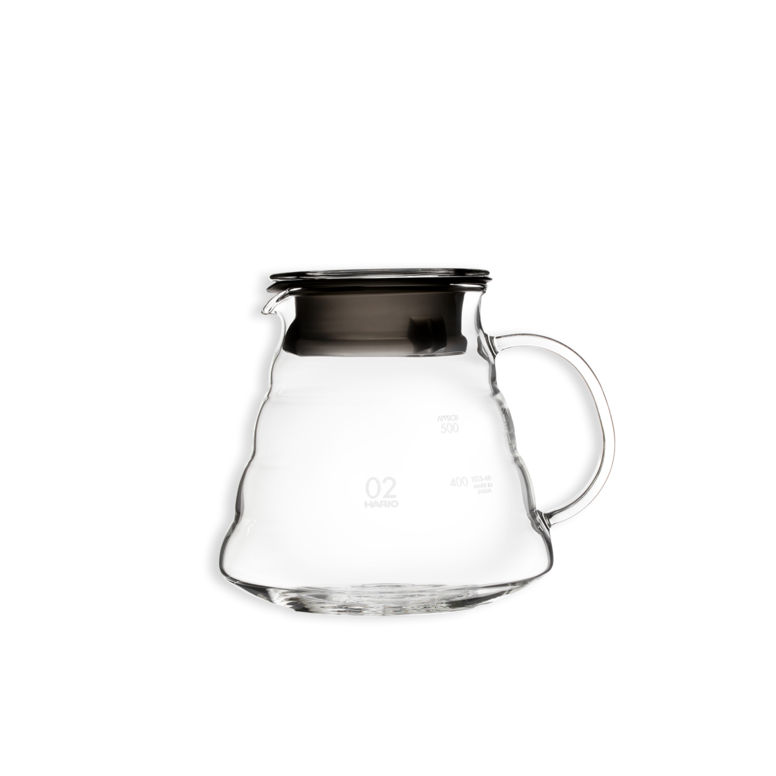 Hario V60 glass coffee server.