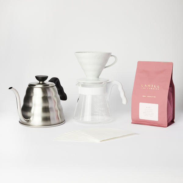 "Hario V60 ""Pro"" Pour Over Set with Coffee"