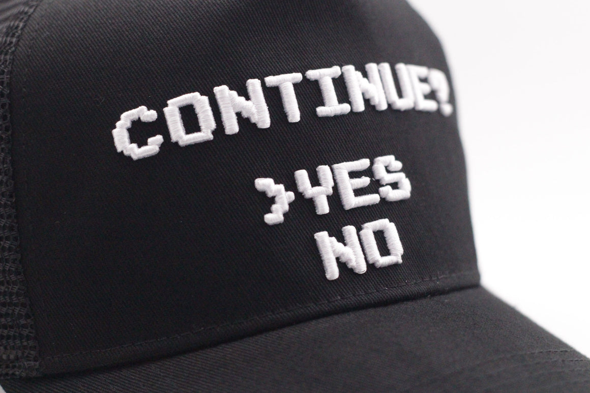 Continue Yes or No? Curved Brim Meshback Cap - Gamer Hats