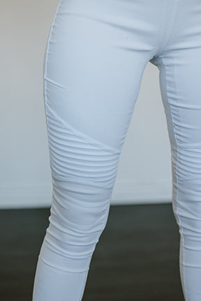 White Moto Jeggings