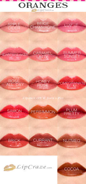 Lipsense Oranges Color Chart