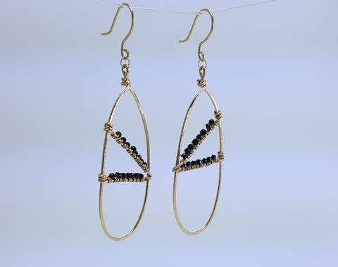 Aretha Earrings - Gold and Black Spinell Earrings