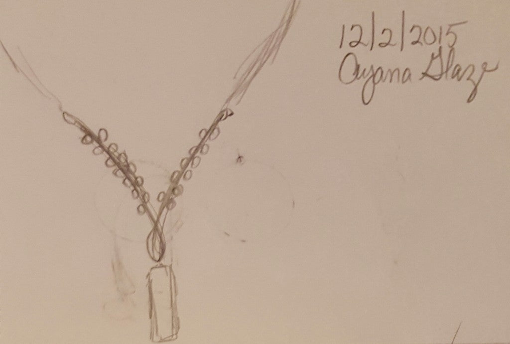 A recent sketch of a new necklace design by Ayana Glaze Jewelry Designer