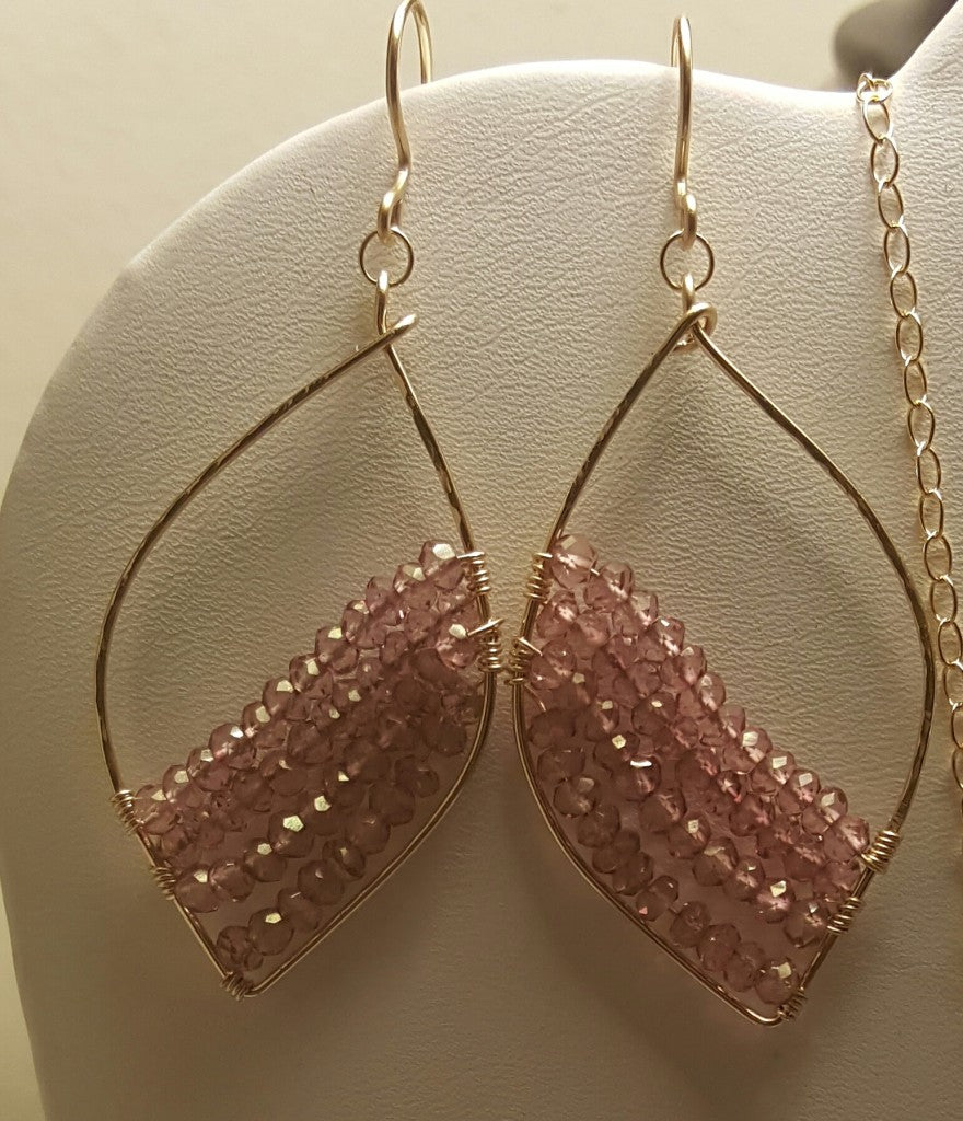 New earring design featuring wire-wrapping and mystic pink gemstones. Copyright 2015 Ayana Glaze