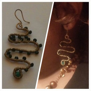 Celia Snake earrings shown as worn