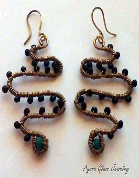 Celia wire wrapped earrings are snake earrings by Ayana Glaze Jewelry