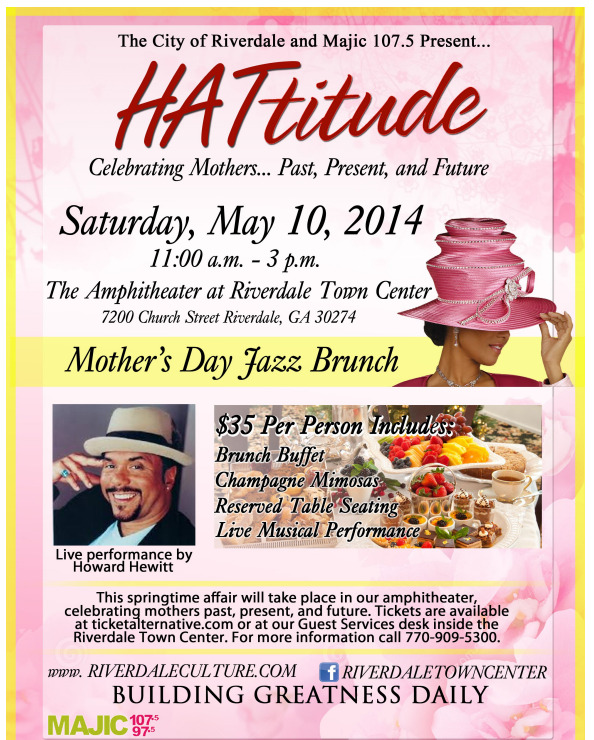 Visit my table at the mother's day brunch at the Riverdale Town Center