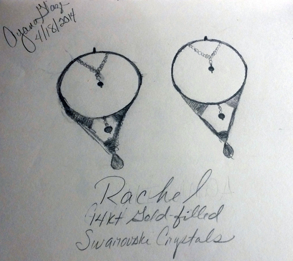 Ayana Glaze sketch of her Rachel wire wrapped earrings. All rights reserved.