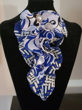Blue and white 2-Layer Ankara collar ruffle by Ayana Glaze