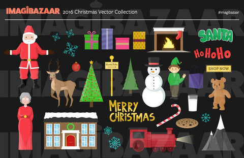 2016 Christmas Illustrations - Flat Design, Vector - Imagibazaar