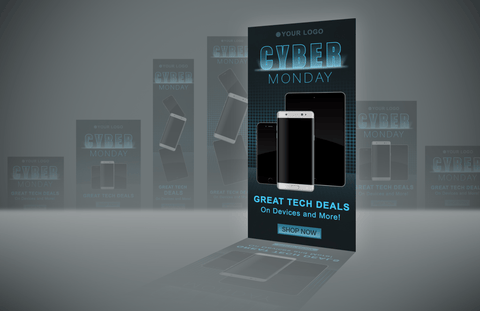 Cyber Monday Remarketing Banner PSD Template - Tech Deals - Imagibazaar