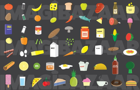 Assorted Food Icons - Flat Design, Vector - Imagibazaar