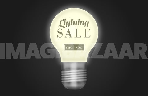 Realistic Vector Lightbulb with CTA - Imagibazaar