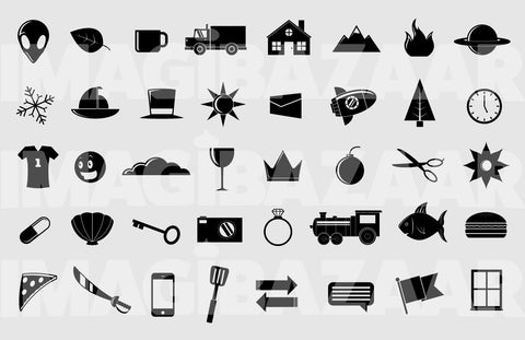 Miscellaneous Black and White Vector Icons - Imagibazaar