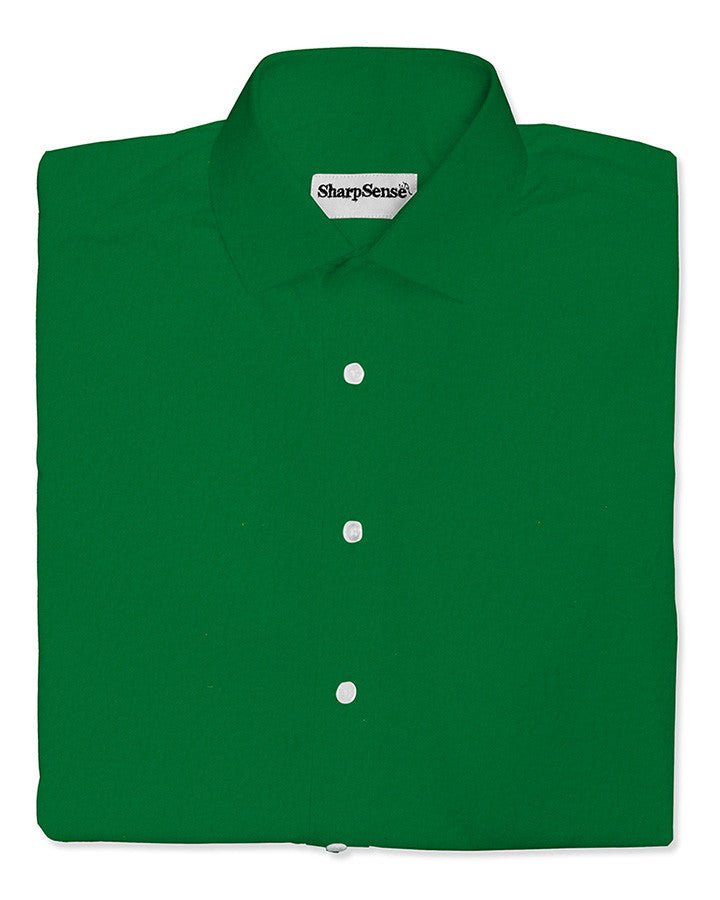 custom tailored made to measure green dress stretch shirt