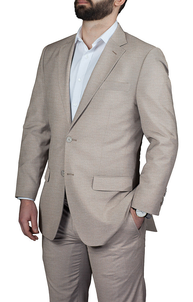 man wearing custom tailored light brown suit