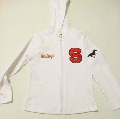 Bling Zip Up Varsity Hoodie w/Name