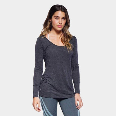 Avery Long Sleeve Drape Back-long-sleeve-Charcoal-XS-long-sleeve-Indira Active