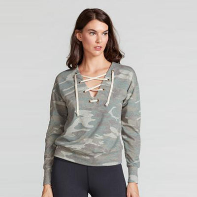MARISSA LACE UP PULLOVER-long-sleeve-Camo-XS-long-sleeve-Indira Active