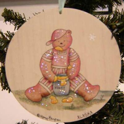ROUND BEAR W/ HONEY ORNAMENT
