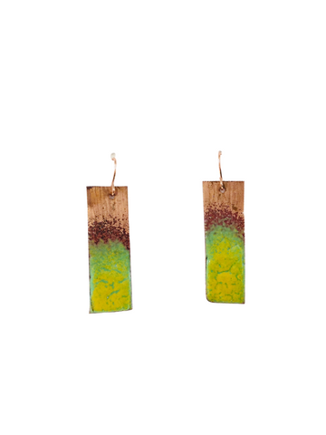 COPPER BAR EARRINGS WITH YELLOW AND GREEN ENAMEL