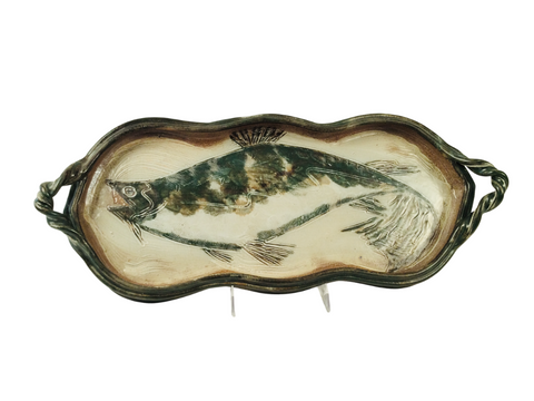 LARGE TRAY WITH FISH, EARTHY GREEN