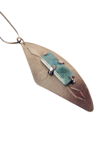 ENGRAVED LARIMAR NECKLACE