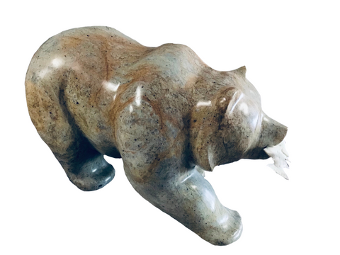 BEAR WALKING WITH FISH 22 INCH SHIPPING INCLUDED