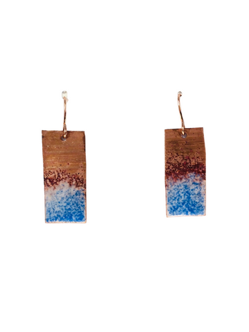 COPPER BAR EARRINGS WITH BLUE AND WHITE ENAMEL