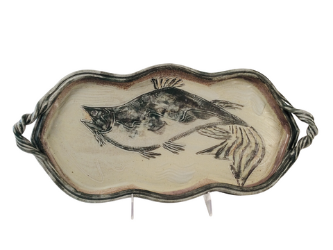 MEDIUM TRAY WITH FISH, JADE & WHITE
