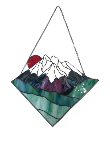 HANGING MOUNTAIN DIAMOND STAINED GLASS