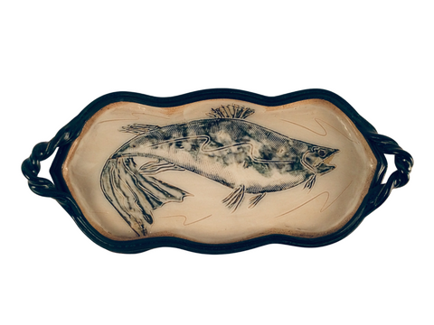 MEDIUM TRAY WITH FISH, BLUE